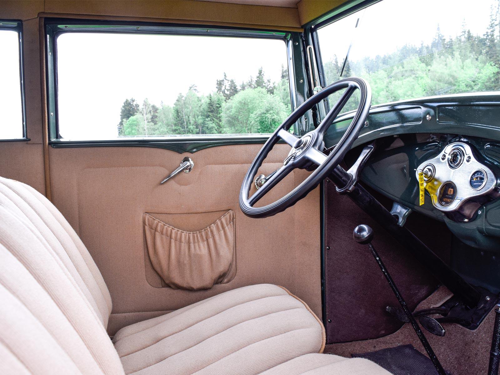 Interiør Ford A Victoria Coupe 1931 modell.